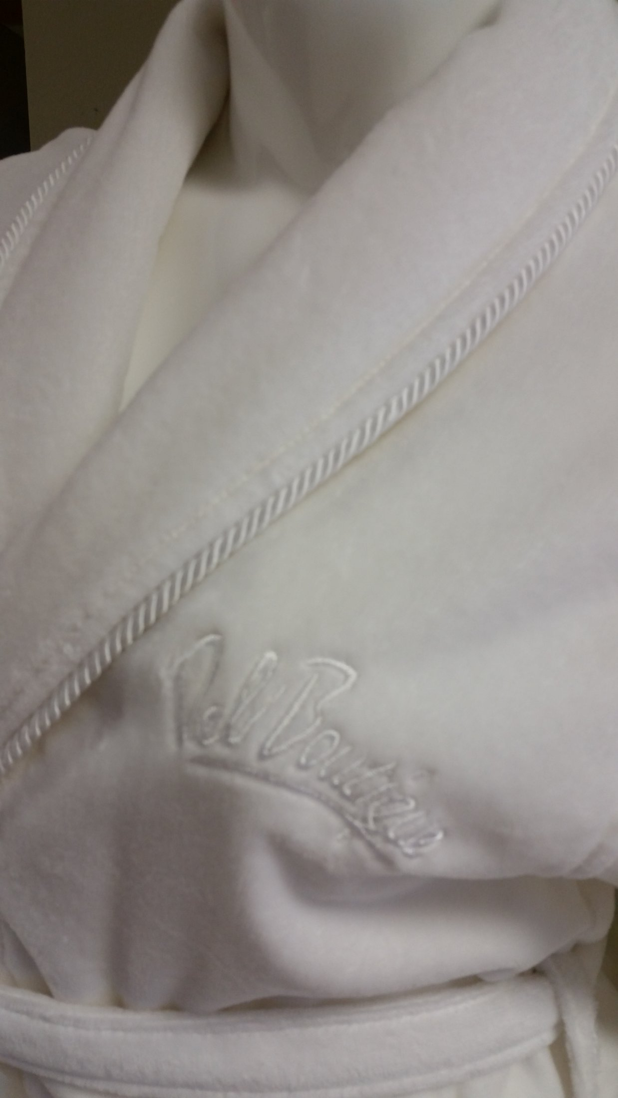 Velour Shawl Collar Robe with Twisted Cording and Logo