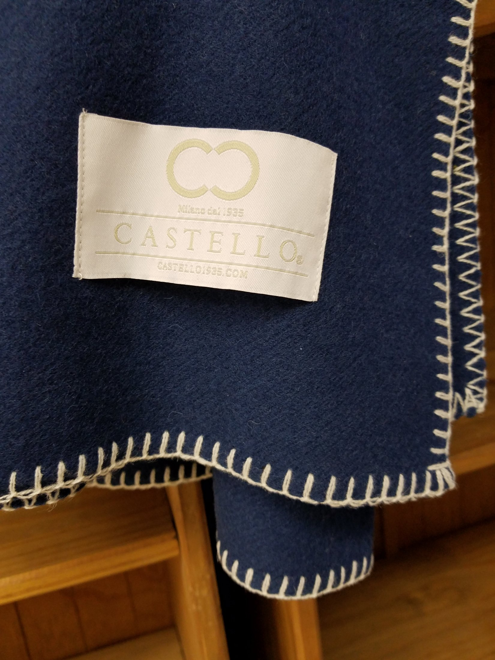 Navy Merino Wool Throw with White Whip Stitched Edge