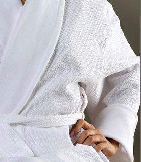 CASTELLO Diamond Shaw Collar Bathrobe White