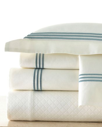 White Sheets With Blue 3 Line Piping